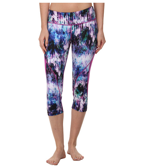 Pink Lotus - Crystal Cave Performance Capri (Purple/Green) Women's Clothing