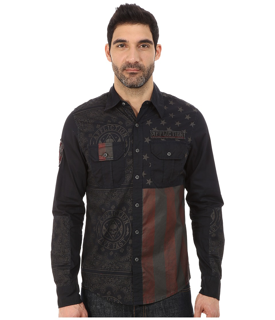Affliction - Patriotic Slim Fit Long Sleeve Shirt (Navy Tint Wash) Men's Long Sleeve Button Up