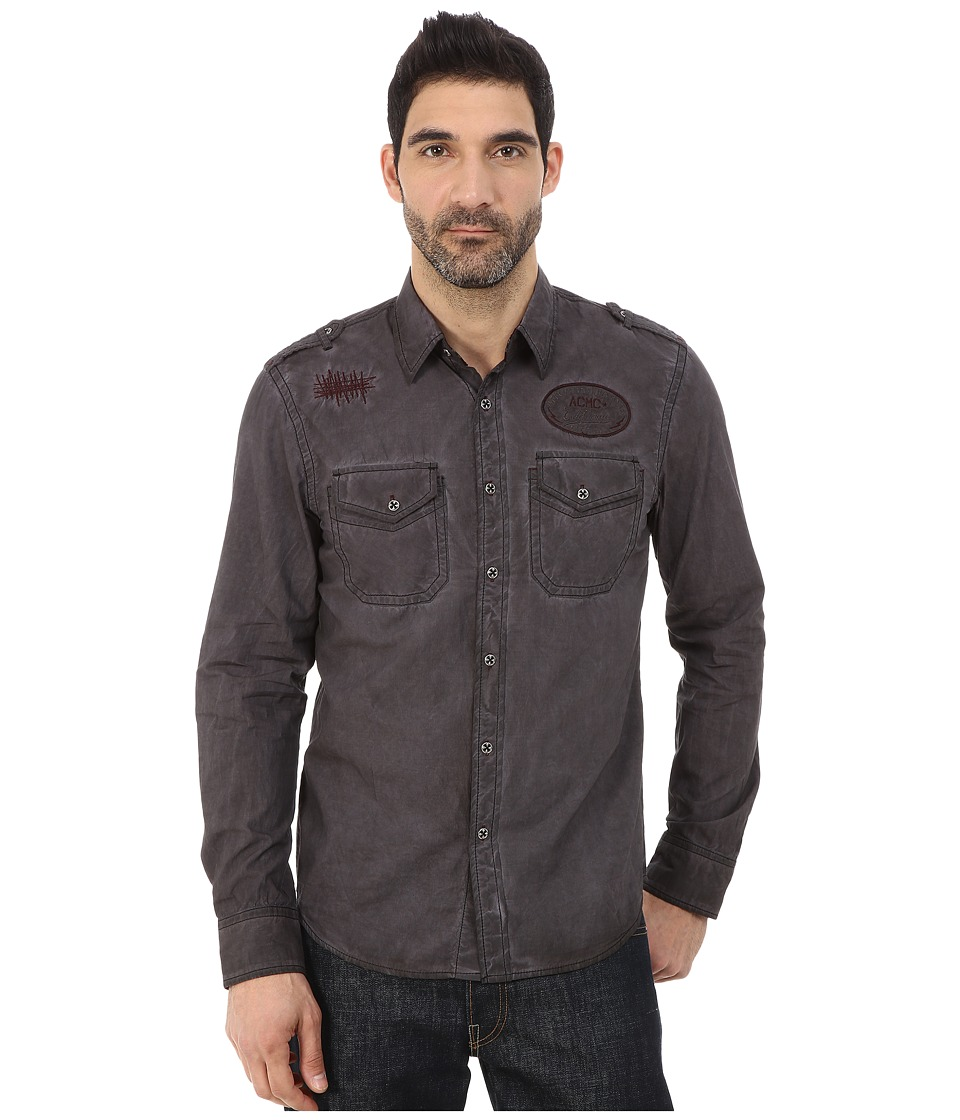 Affliction - Garage Built Motors Slim Fit Long Sleeve Shirt (Dark Brown Tint Wash) Men's Long Sleeve Button Up