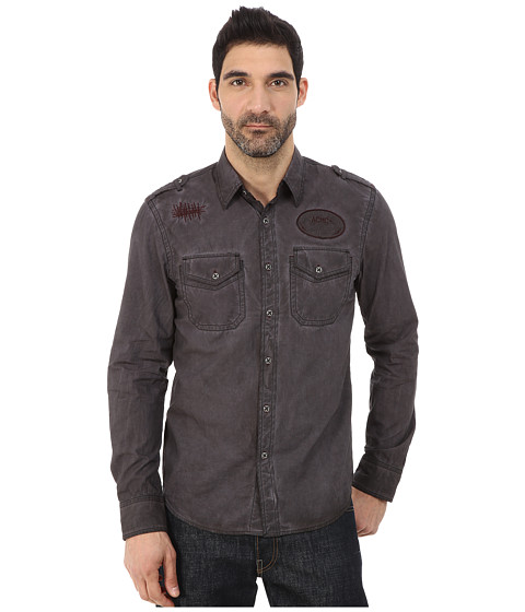 Affliction - Garage Built Motors Slim Fit Long Sleeve Shirt (Dark Brown Tint Wash) Men