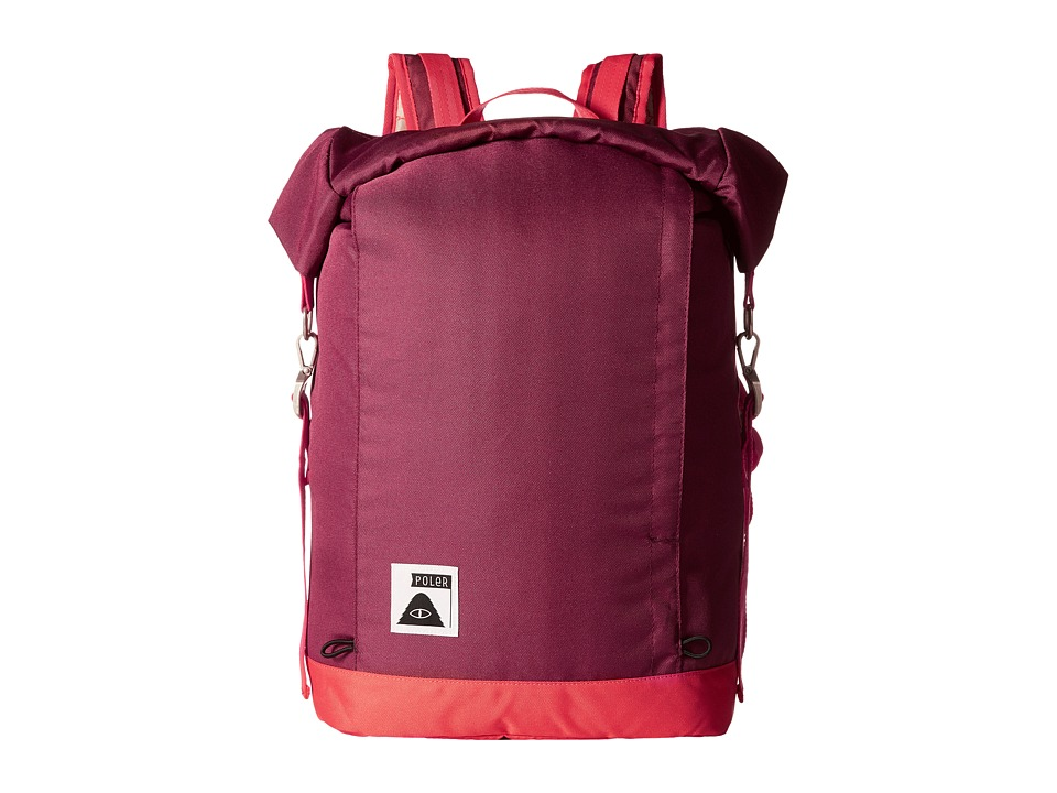 Poler - Rolltop Backpack (Sweet Berry Wine/Steel Blue/Cayenne) Backpack Bags