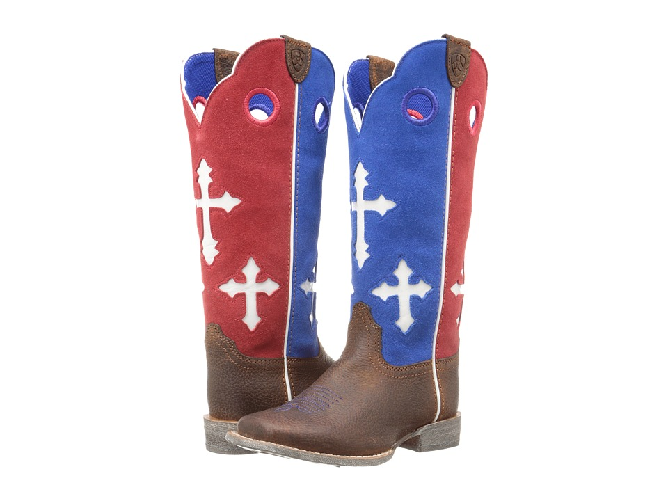 Ariat Kids - Ranchero Brown Oiled (Toddler/Little Kid/Big Kid) (Rowdy/Patriotic) Cowboy Boots