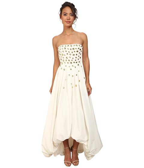BCBGMAXAZRIA - Woen Jewel-Embellished Taffeta Gown (Gardenia) Women