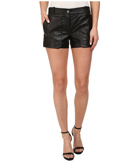 BCBGMAXAZRIA - Bruna Patch Pocket Leather Shorts (Black) Women's Shorts