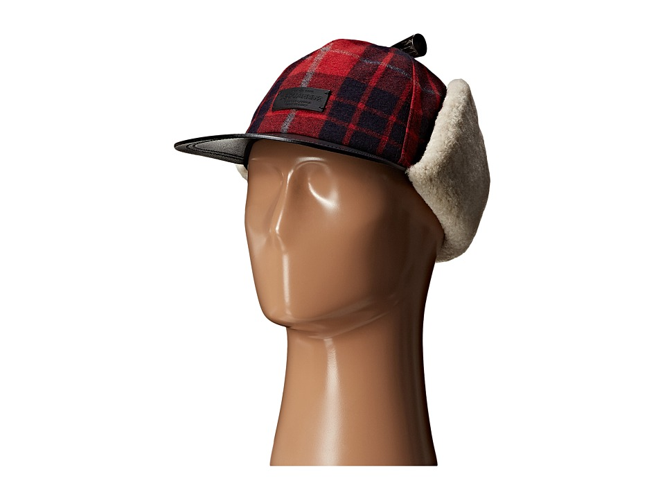 DSQUARED2 - Shearling Icon Hat (Rosso Nero Beige) Caps
