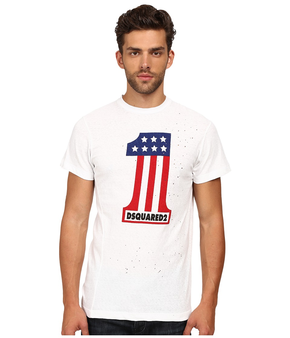 DSQUARED2 Long Cool Twisted Print T-Shirt (White) Men