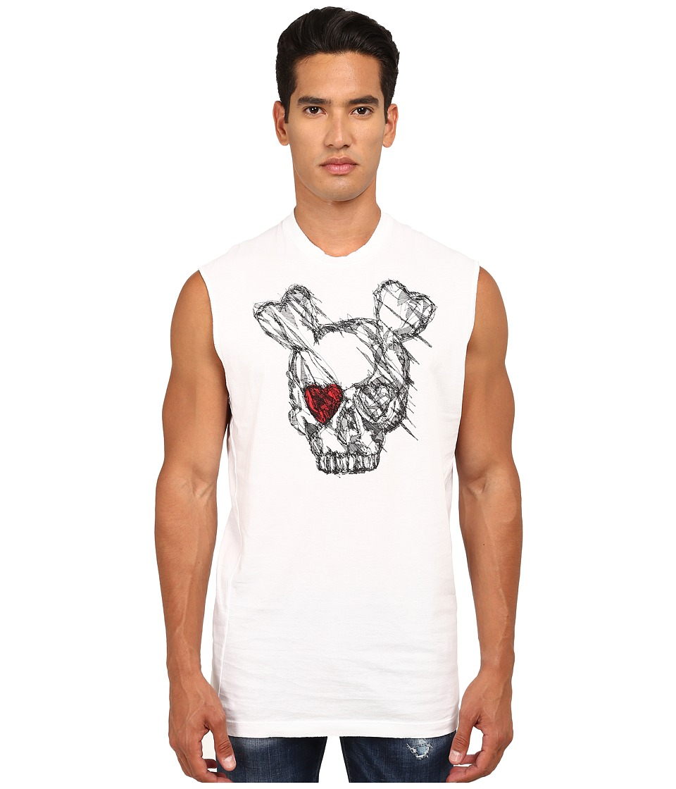 DSQUARED2 - Puff and Soft Print Skull T-Shirt (White) Men's T Shirt