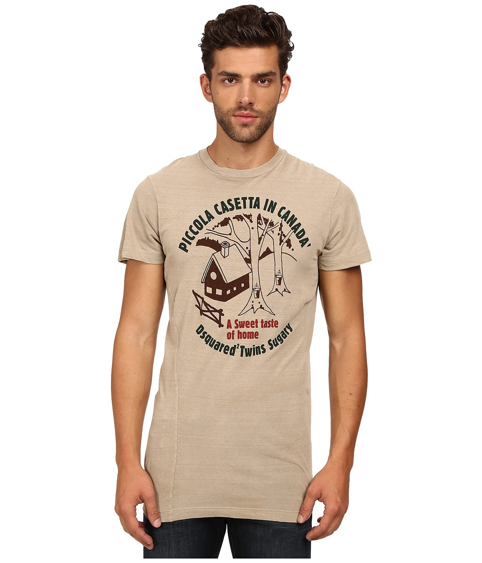 DSQUARED2 - Long Cool Twisted T-Shirt (Beige) Men's T Shirt