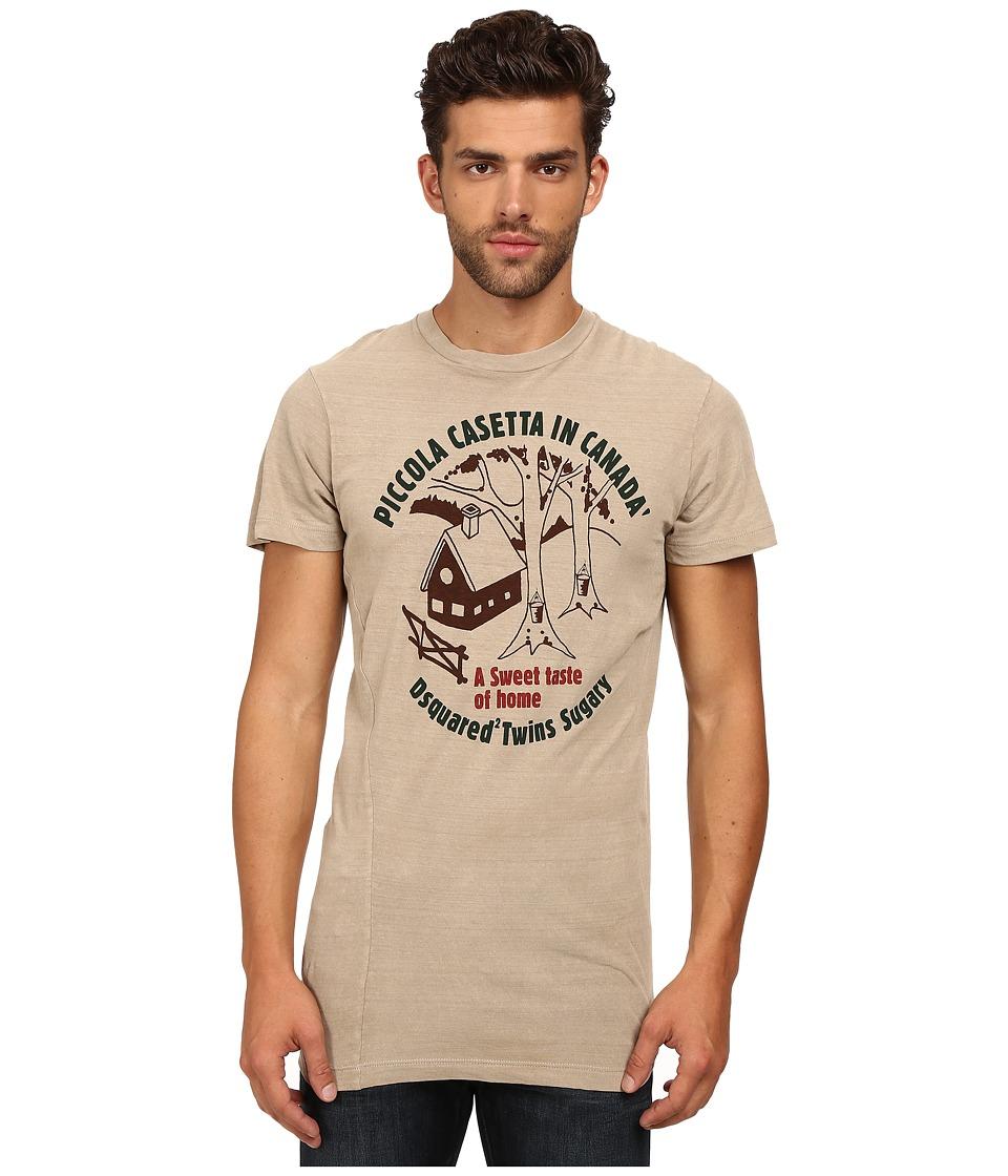 DSQUARED2 - Long Cool Twisted T-Shirt (Beige) Men's T Shirt