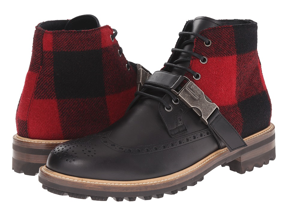 DSQUARED2 - Modena Laced Up Ankle Boot (Nero Rosso) Men