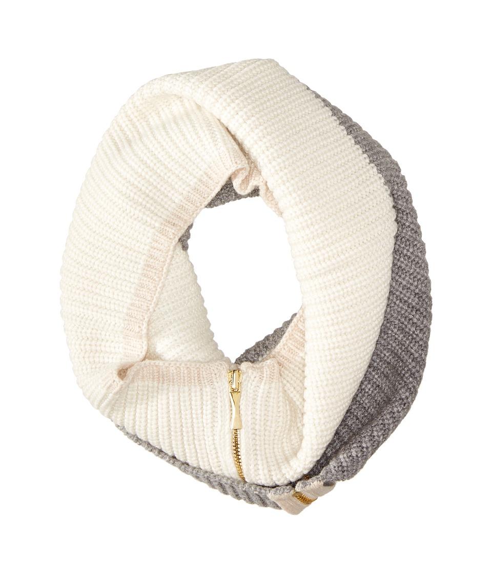 Kate Spade New York - Zip-Up Neckwarmer (Cream/Grey Melange/Pumice) Scarves