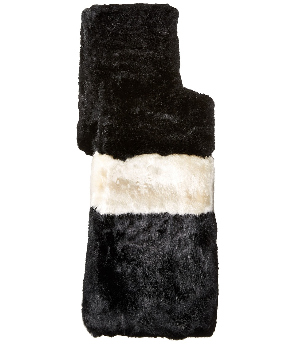 Kate Spade New York - Faux Rabbit Fur Stole (Black/Cream) Scarves