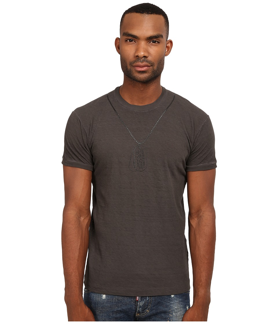 DSQUARED2 - Chic Dan Fit T-Shirt with Dog Tag (Grey) Men's T Shirt