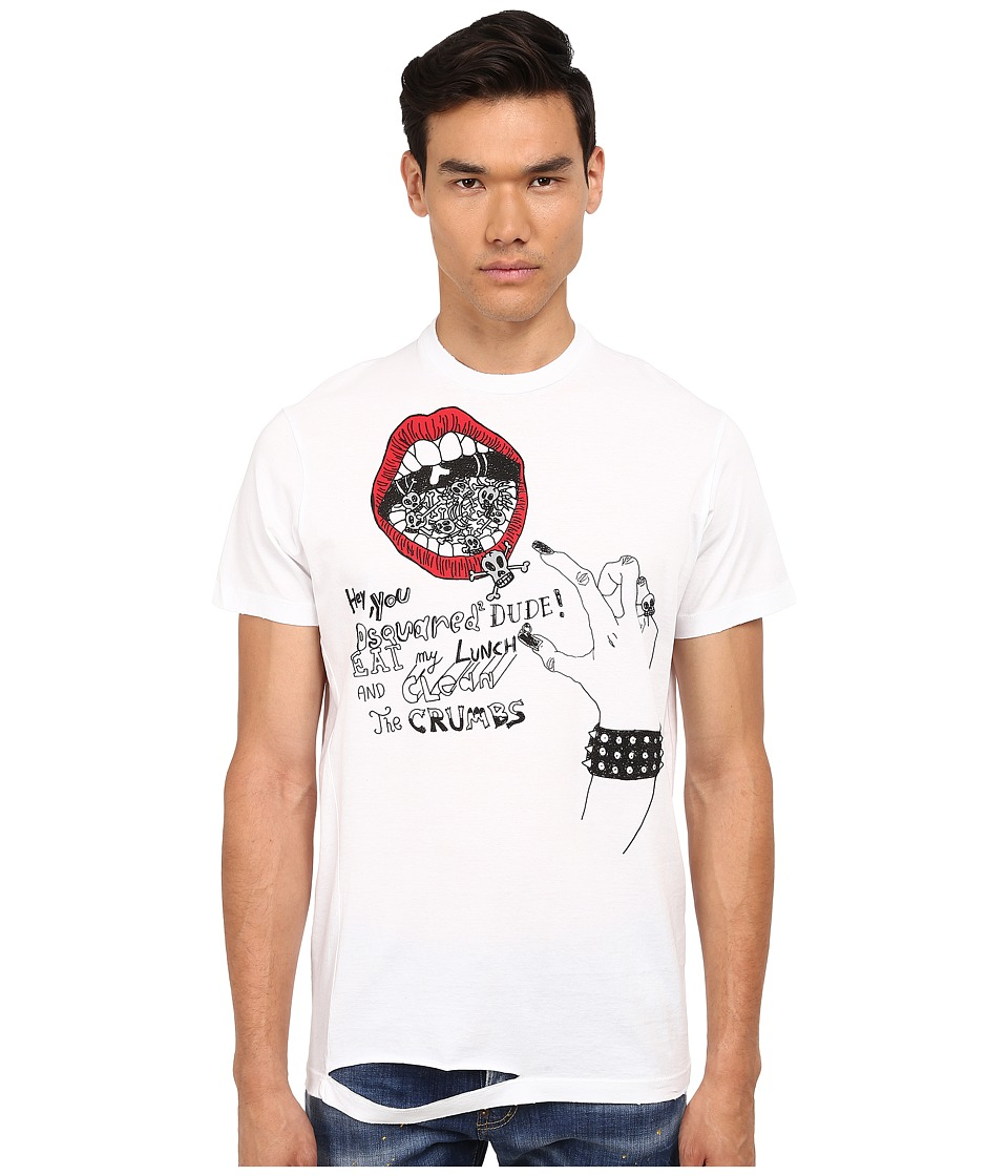 DSQUARED2 - Long Cool Twisted Ripped T-Shirt (White) Men
