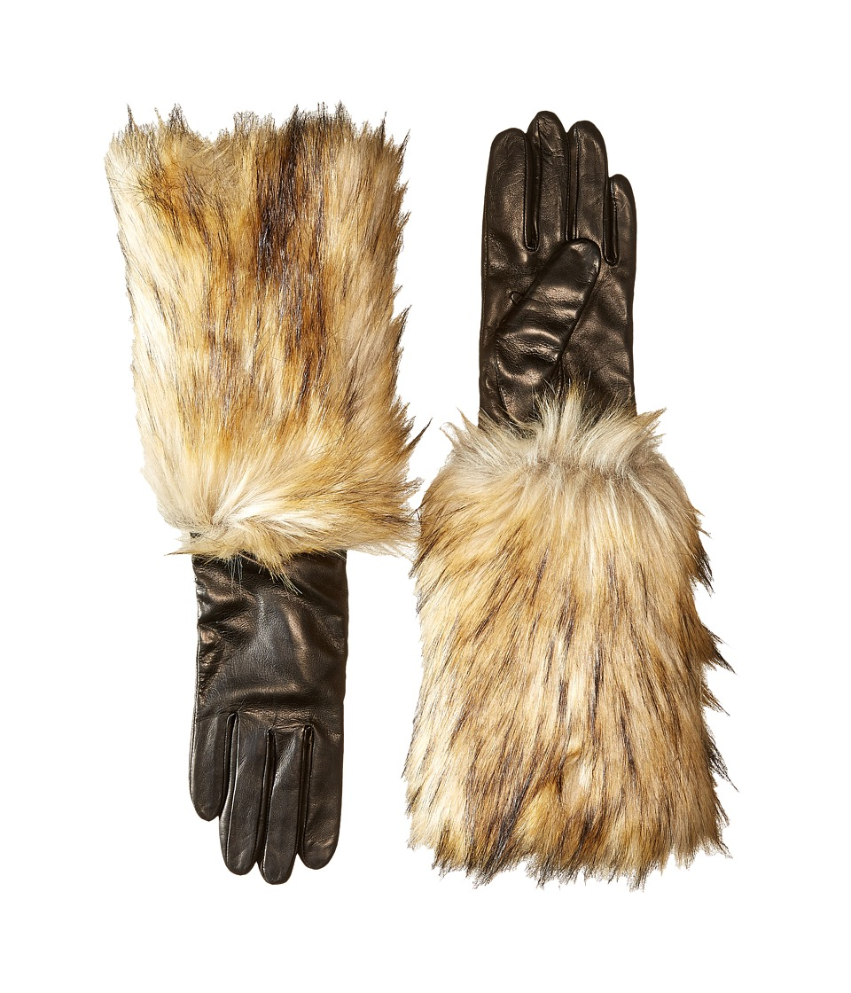 Kate Spade New York - Faux Fox Fur Leather Glove (Black) Extreme Cold Weather Gloves