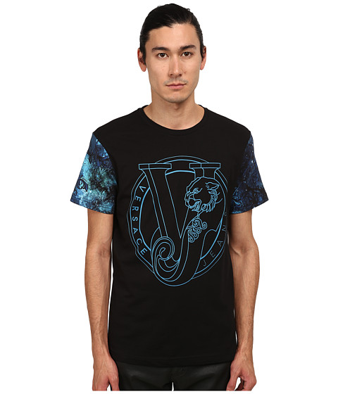 Versace Jeans - Tiger and Baroque Trees T-Shirt (Print Blue) Men's T Shirt