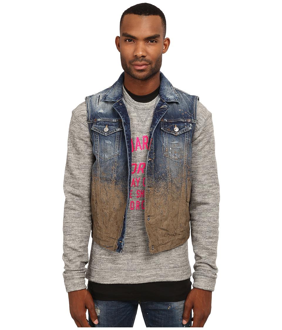 DSQUARED2 - Mud Splash Jean Vest (Blue/Mud) Men's Vest