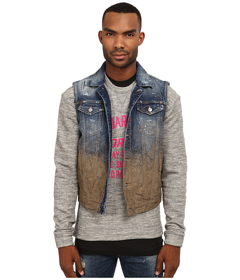 DSQUARED2 - Mud Splash Jean Vest (Blue/Mud) Men's Vest