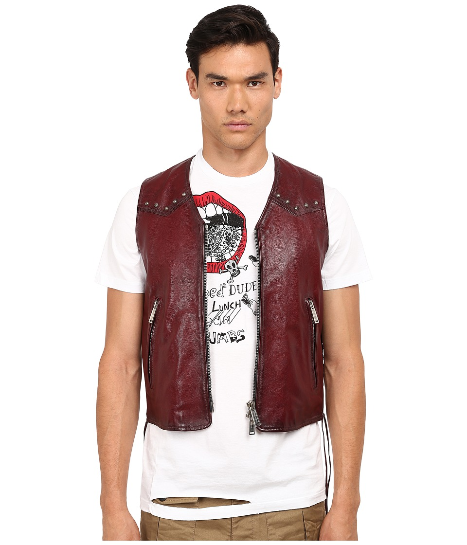 DSQUARED2 - Side Laces Leather Vest (Wine) Men's Vest