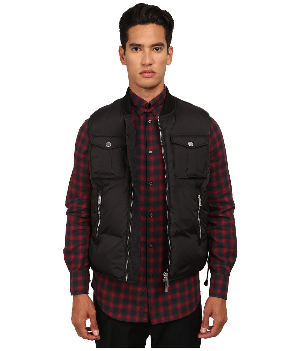 DSQUARED2 - Leather Yoke Vest (Black) Men's Vest