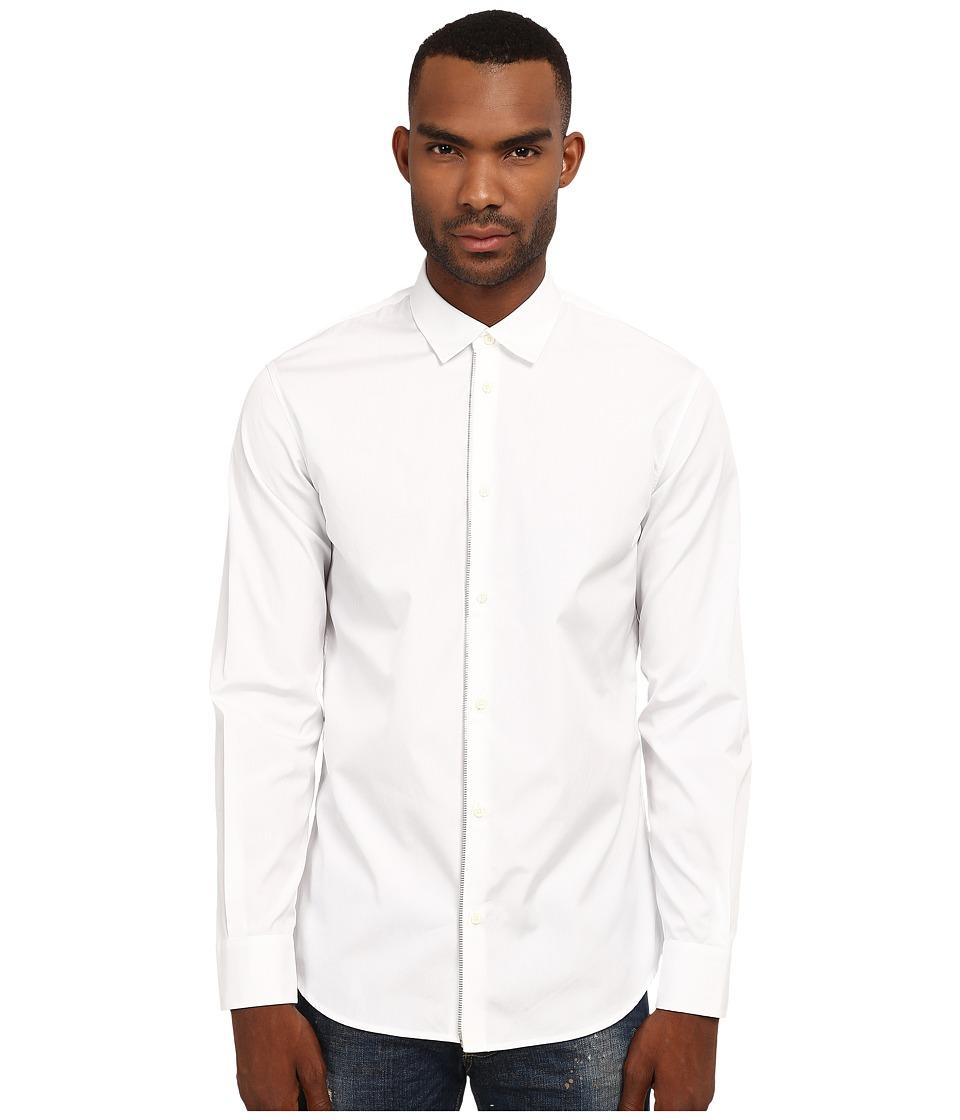 DSQUARED2 - Front Zip Detail Shirt (White) Men's Clothing