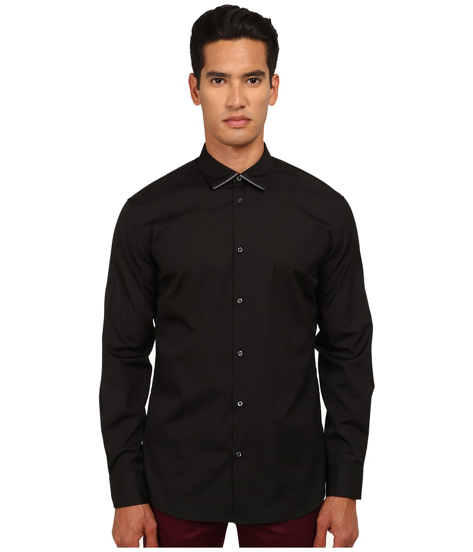 DSQUARED2 - Collar Zip Detail Shirt (Black) Men's Clothing