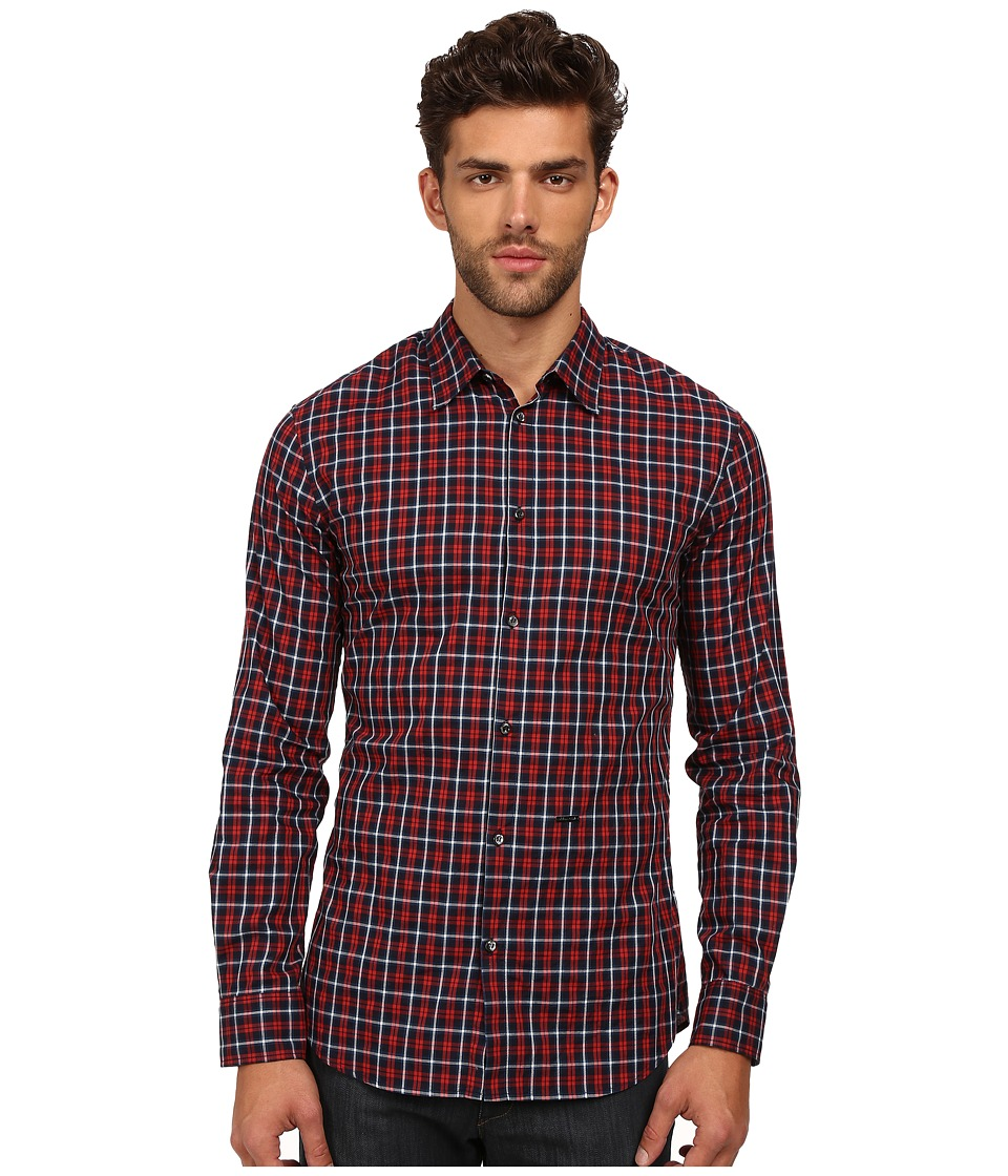 DSQUARED2 - M.B. Shirt (Brown/Ochre/White) Men's Long Sleeve Button Up