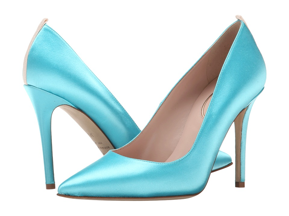 SJP by Sarah Jessica Parker - Fawn 100mm (Tiffany Blue Satin) Women's Shoes