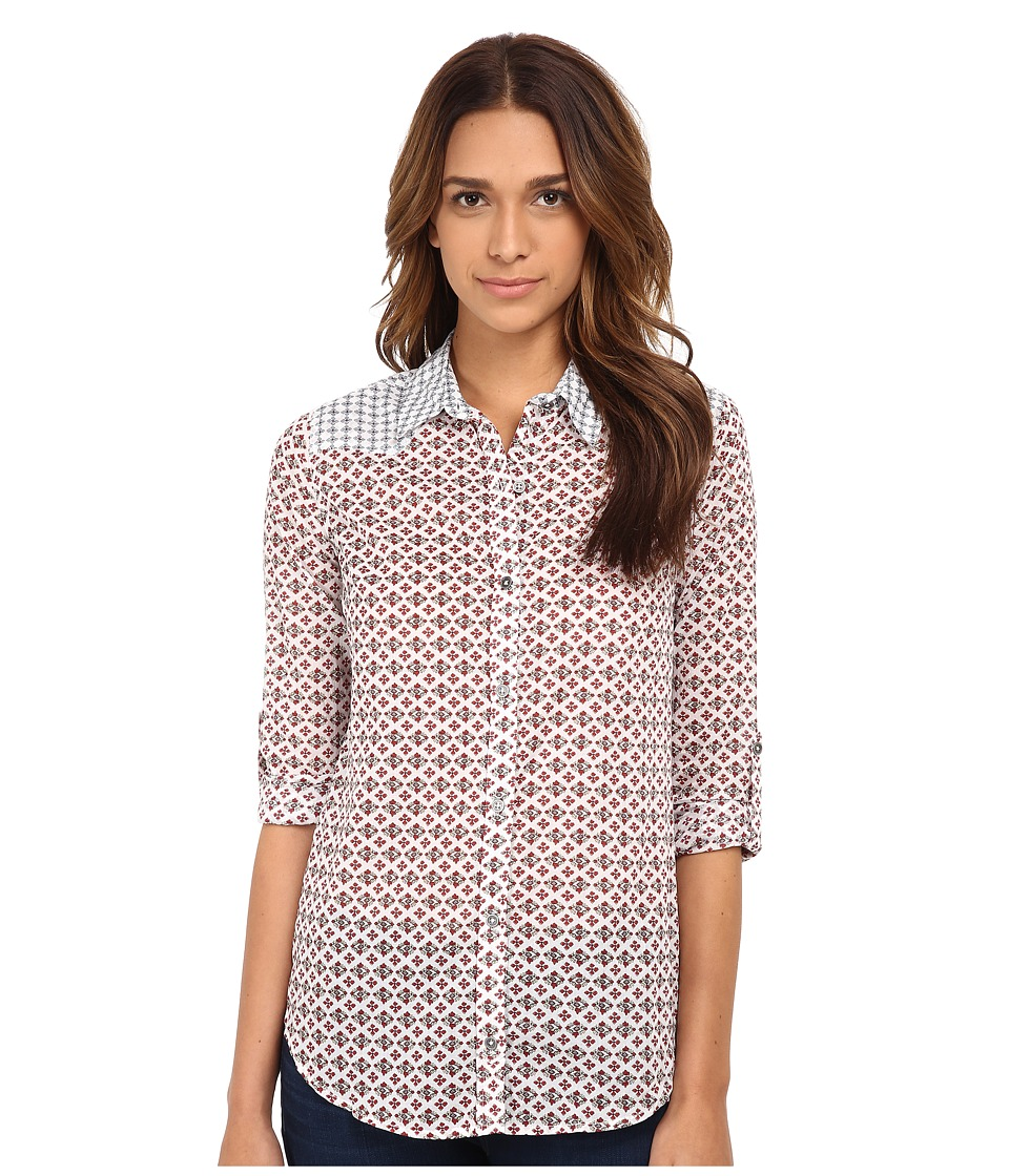 Seven7 Jeans - Button Down Shirt (Tulip Red) Women's Short Sleeve Button Up