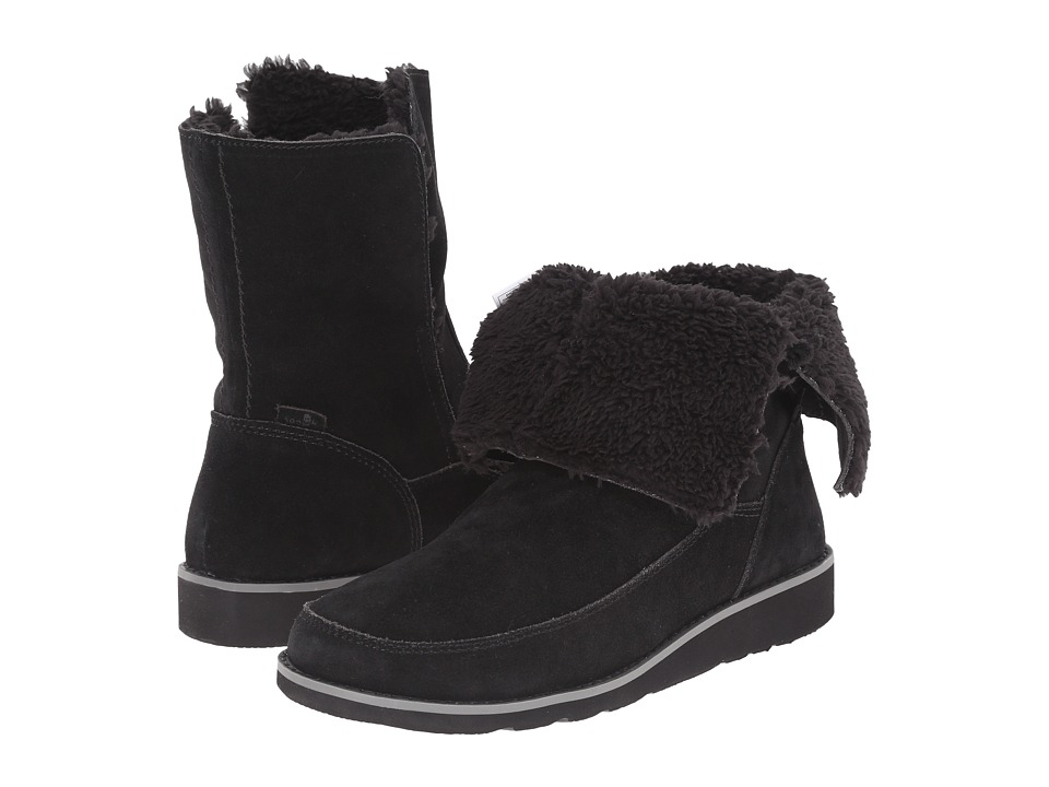 Sanuk - Drop Top Suede (Black) Women's Pull-on Boots