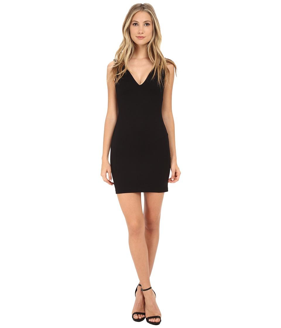 Amanda Uprichard - Deep V Dress (Black) Women's Dress