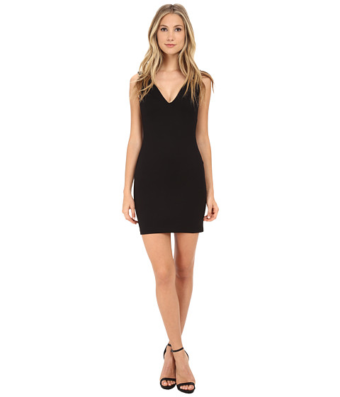 Amanda Uprichard - Deep V Dress (Black) Women's Dress
