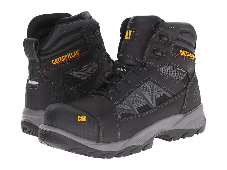 Caterpillar - Compressor 6 Waterproof Composite Toe (Black) Men's Work Boots