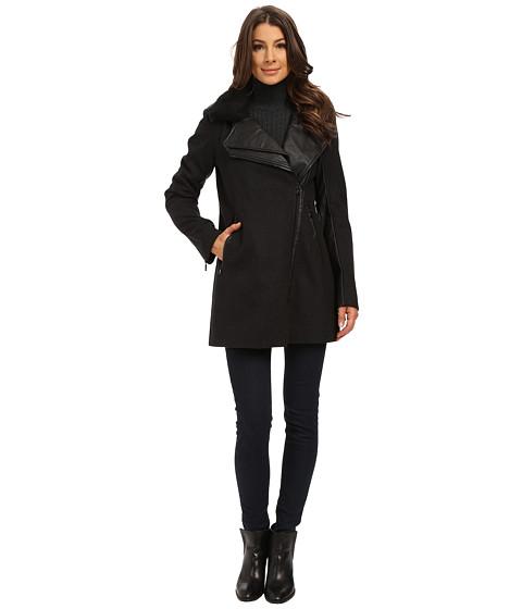 Sam Edelman - Moto Coat w/ Double Lapel (Charcoal) Women