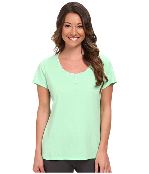 Jockey - Enchanted Spring Short Sleeve Henley Top (Spring Green) Women