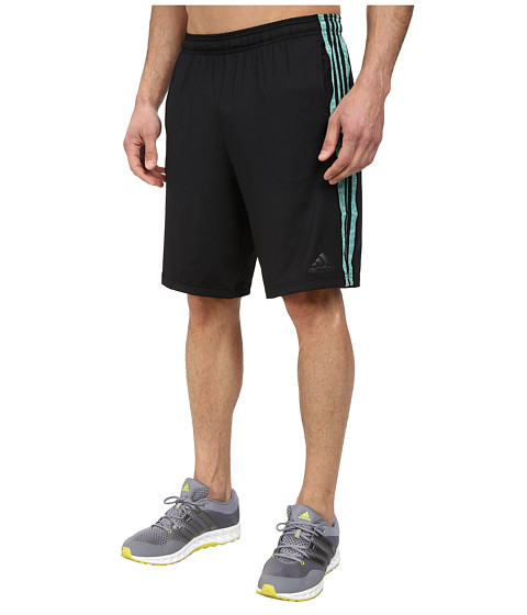 adidas - Team Issue 3 Stripes Shorts- Solid (Black/Vista Green Heather/Cobalt Heather) Men