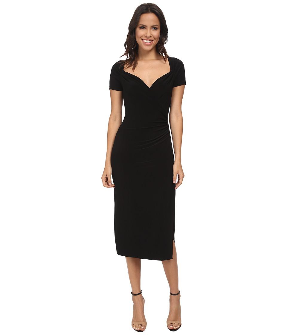 KAMALIKULTURE by Norma Kamali - Short Sleeve Sweetheart Half Calf Dress (Black) Women