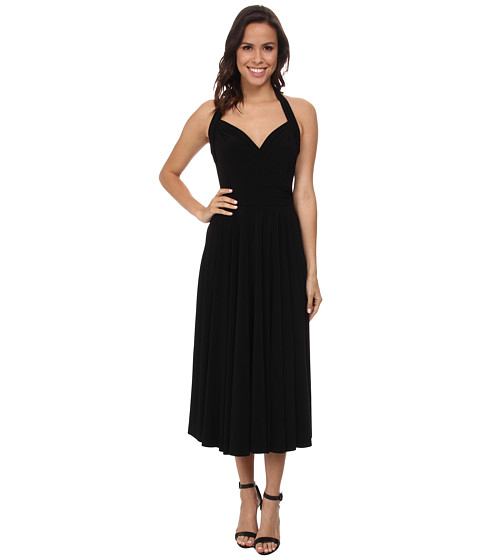 KAMALIKULTURE by Norma Kamali - Halter Sweetheart Flared Half Calf Dress (Black) Women