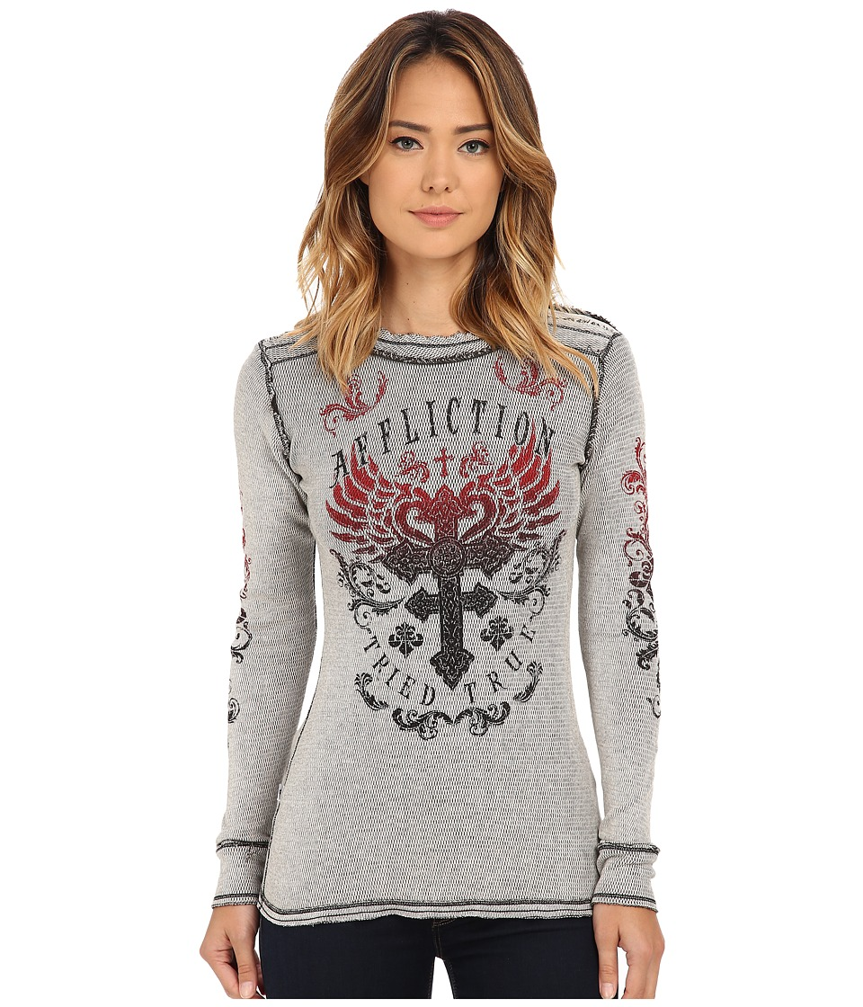 Affliction - Encounter Long Sleeve Reversible Thermal Tee (Vintage White/Black) Women
