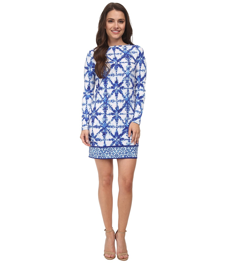 MICHAEL Michael Kors - Petite Glazed Tile Long Sleeve Border Dress (Royal) Women's Dress