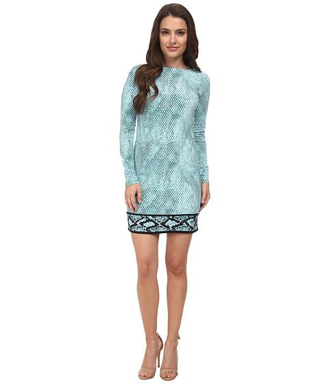 MICHAEL Michael Kors - Petite Serpent Long Sleeve Border Dress (Tile Blue) Women