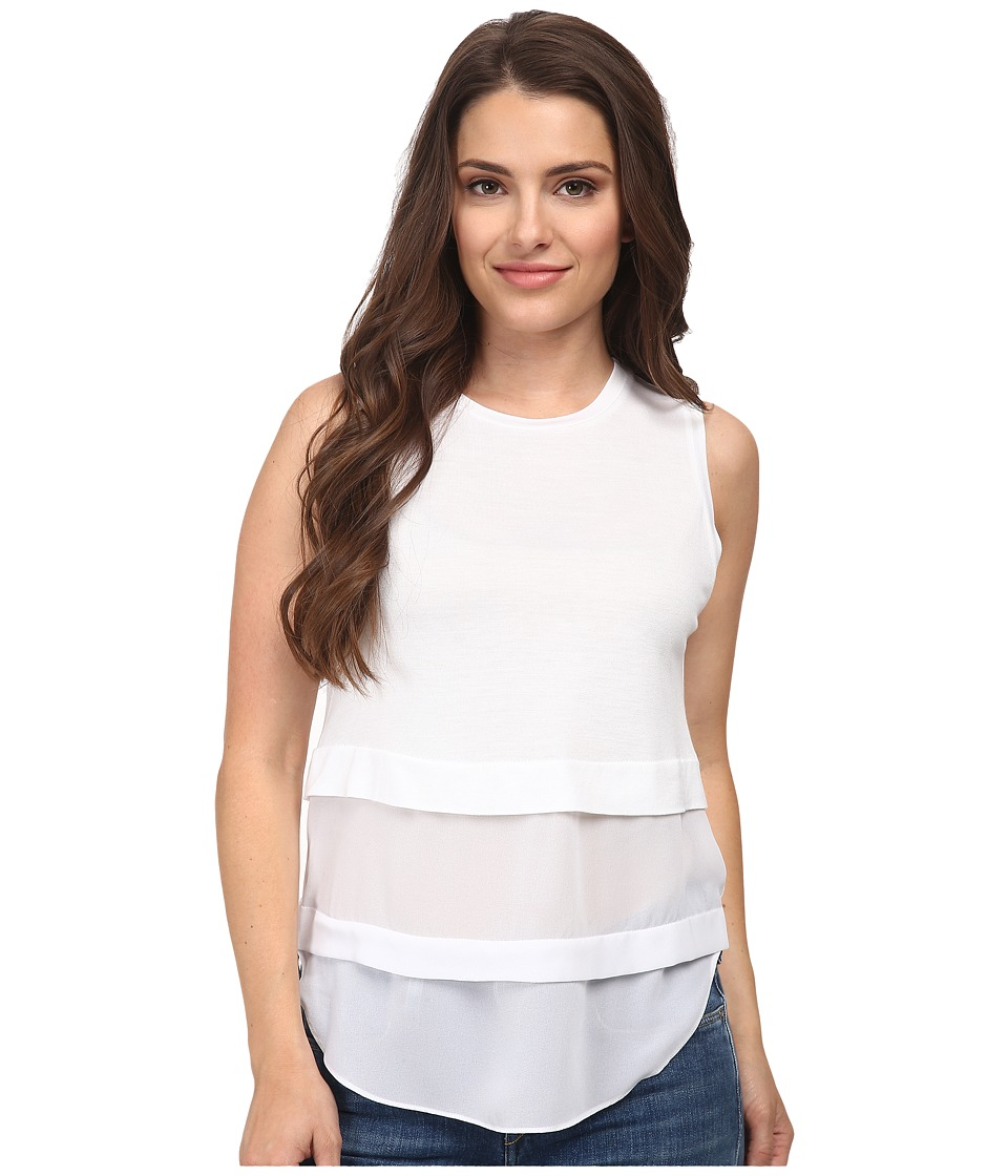 MICHAEL Michael Kors - Petite Sleeveless Crew Woven Mix Top (White) Women's Sleeveless