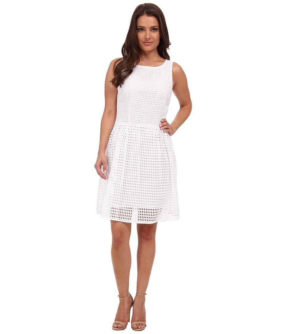 MICHAEL Michael Kors - Petite Eyelet Boat Neck Dress (White) Women's Dress
