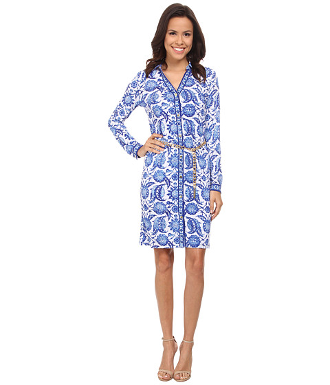 MICHAEL Michael Kors - Porcelain Long Sleeve Shirtdress (Royal) Women's Dress