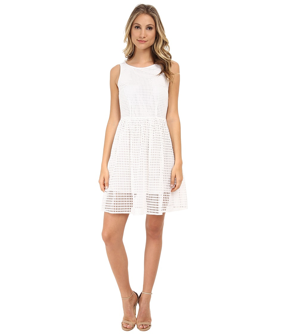 MICHAEL Michael Kors - Eyelet Boat Neck Dress (White) Women's Dress