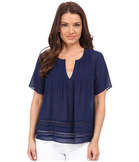 MICHAEL Michael Kors - Petite Lace Insert Top (Prussian Blue) Women's Blouse