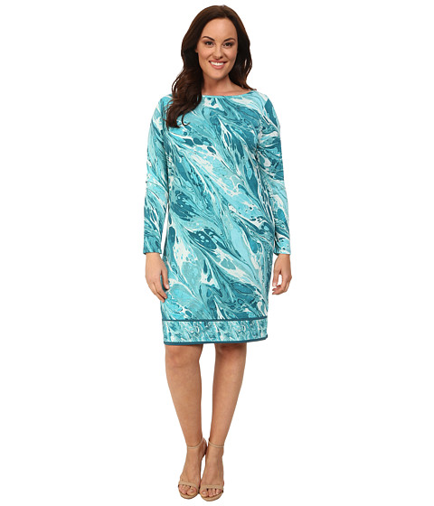 MICHAEL Michael Kors - Plus Size Rainwater Long Sleeve Border Dress (Tile Blue) Women's Dress