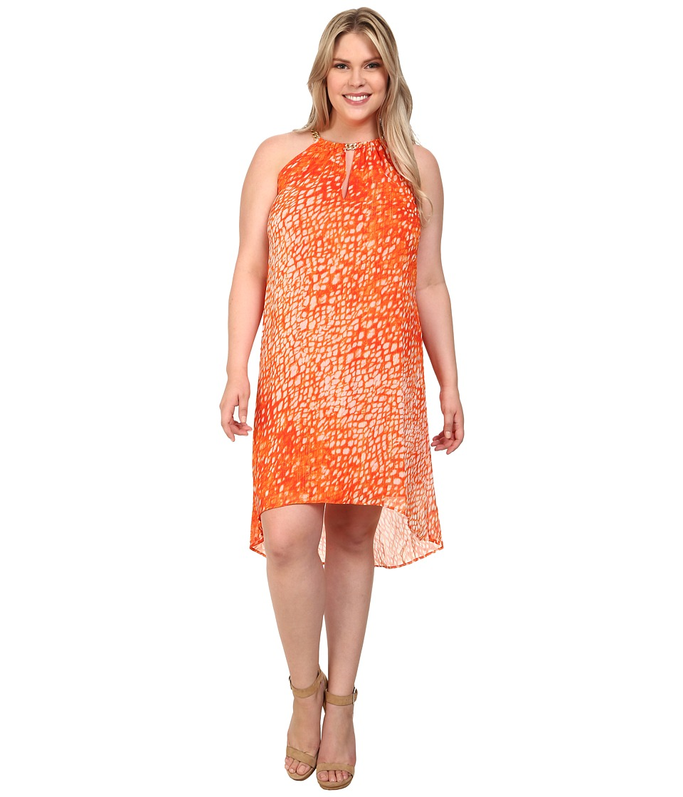 MICHAEL Michael Kors Plus Size Sorento Tie-Dye Dress (Clementine) Women