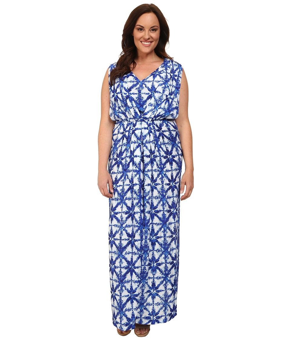 MICHAEL Michael Kors Plus Size Glazed Tile Maxi (Royal) Women