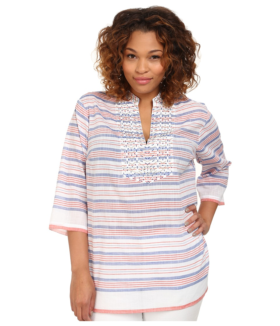 MICHAEL Michael Kors - Plus Size Deep Sea Stripe Tunic (Royal/Clementine) Women's Long Sleeve Pullover